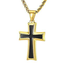 HZMAN Mens Stainless Steel Cross Pendant Necklace Flower Basket Chain (Gold)