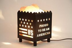 DIA Natural Himalayan Salt Lamp in US Star Design Metal Basket with Dimmable Cord For Christmas  ...