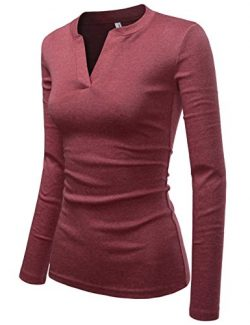 NEARKIN (NKNKWVT609 Womens Slim Cut Look V-Neck Long Sleeve Fitted Cotton Tshirts Wine US XL(Tag ...