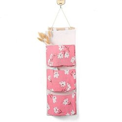 ruiycltd New Year's Gift 3 Pockets Cotton Linen Wall Hanging Sundry Storage Bag Flower Org ...
