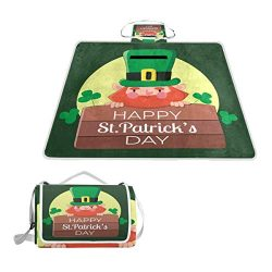 Yokii Happy St.Patrick's Day and Leprechauns Camping Picnic Blanket Baby Crawling Mat Fold ...