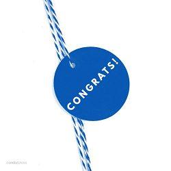Andaz Press Circle Gift Tags, Modern Style, Congrats!, Royal Blue, 24-Pack