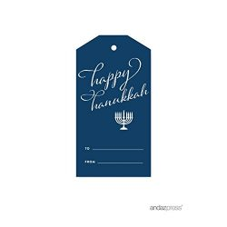 Andaz Press Christmas Collection, Classic Gift Tags, Stylized Happy Hanukkah To From, 12-Pack