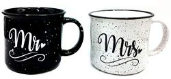 Mr and Mrs Couples Camping Ceramic Coffee Mug Set 15oz – Unique Wedding Gift For Bride and ...