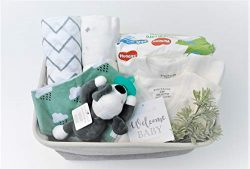 8 Piece Baby Boy Shower Gift Basket Set – Organic Cotton Bamboo Muslin Swaddle, Plush Anim ...