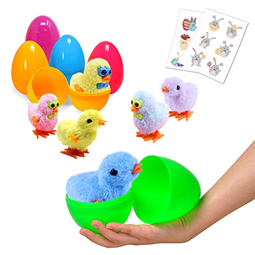 Large Surprise Eggs Filled 6 Pack Easter Eggs with Wind-Up Novelty Jumping Chics and Animal Stic ...