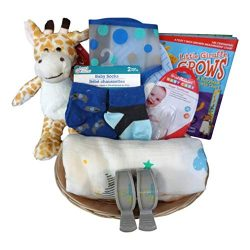 Giraffe Baby Gift Basket for Baby Boy or Girl with Cotton Blanket, Growth Chart, Socks (BlueGiraffe)