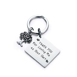 CJ&M Step Parent Keychain, Thank You for Loving Me as Your Own Step Mother Keychain, Step Mo ...