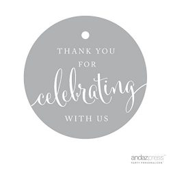 Andaz Press Circle Gift Tags, Thank You For Celebrating With Us, Gray, 24-Pack, Round Thanks Tag ...