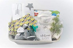 8 Piece Baby Shower Gift Basket Set – Organic Cotton Bamboo Muslin Swaddle, Plush Animal P ...
