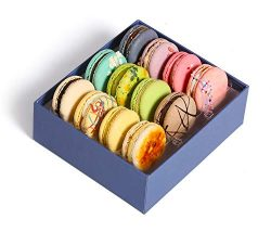 French Macarons Gourmet Cookies Premium Chocolate Gift Box Basket Gluten Free Snacks Desserts Fo ...