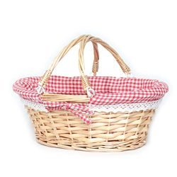 MEIEM Wicker Basket Gift Baskets Empty Oval Willow Woven Picnic Basket Cheap Easter Candy Basket ...