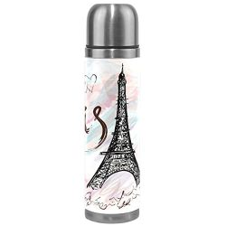 Wamika Eiffel Tower Vacuum Insulated Stainless Steel Water Bottle, Romantic Paris Pink White Spo ...