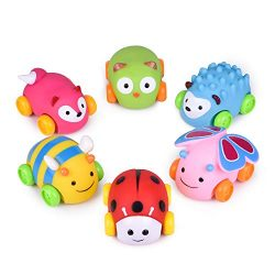 Car Toys for Kids, 6 PCs Push & Go Toddler Animal Toy Cars, Soft Die-Cast Vehicle Birthday G ...