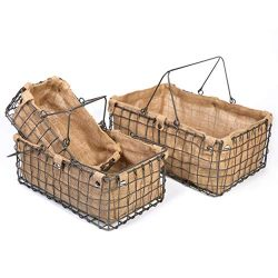 SLPR Metal Wire Basket with Jute Lining (Set of 3) | Bathroom Pantry Cabinet Kitchen Metal Stora ...
