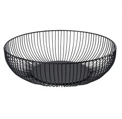 Metal Wire Countertop Fruit Storage Basket Stand for Kitchen, Large Hemisphere Black Decorative  ...