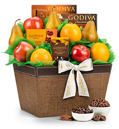 GiftTree Fresh Fruit and Godiva Sympathy Gift Basket | Includes Godiva Chocolates, Fresh Pears,  ...