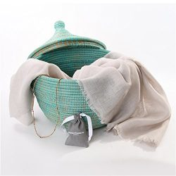 Thinking of You Gift Basket – Fair Trade Scarf and Jewelry in Lidded Basket