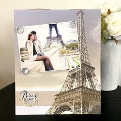 "Je T'aime Paris Travel Eiffel tower jeweled gift handmade magnetic picture frame holds 5""  ..."