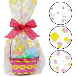 """6 Pack Happy Easter Jumbo Cello Basket Bags 22"""" x 25"""" Printed Plastic Cellophane Wrapping Party  ..."""