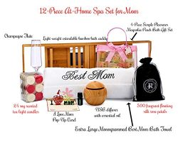 Christmas Gifts for Mom Mother – Spa Gift Box Basket Bundle with Best Mom Towel and Bamboo ...