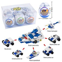 Totem World 6 Filled Easter Egg Building Toys – Police Vehicle Set – Age 6-12 Learni ...