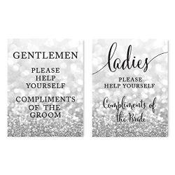 Andaz Press Wedding Party Signs, Glitzy Silver Glitter, 8.5×11-inch, Ladies Gentlemen Bathr ...