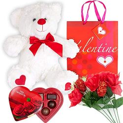 Grine Set Basket | 12 Inches Teddy Bear Plush (Color May Vary) Artificial Rose Flower Bouquet El ...
