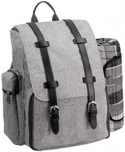 Picnic Backpack for 4 | Picnic Basket | Stylish All-in-One Portable Picnic Bag with Complete Cut ...