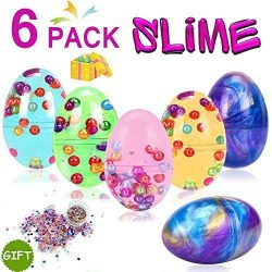6 Pack Easter Egg Slime Kit 3 Galaxy Sludge Slime 3 Crystal Colors Putty Eggs with Colorful Pear ...