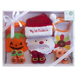 Little Me Unisex 7-Piece Holiday Baby Accessories Set- Adorable Special Occasion Baby Gift Set-  ...