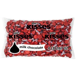 Hershey's KISSES Milk Chocolate Red Bulk Candy, approx. 400 Pieces