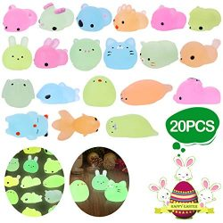 LEEHUR 2nd Generation 20pcs Mochi Glitter Squishies Animals Toys Kids Party Favor Glow in The Da ...