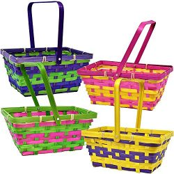Gift Boutique 12 Bamboo Easter Baskets- Rectangular Woven Bright with Handle for Girls and Boys  ...