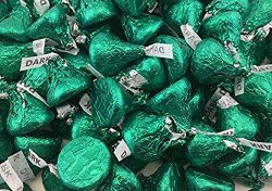 LaetaFood Bundle – Hershey's Kisses Dark Chocolate Mildly Sweet Candy, Green Foils ( ...