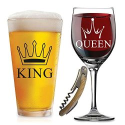 SALE – King Queen Glasses – with FREE Bottle Opener – Funny Wedding Gifts R ...