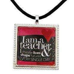 Handmade Teacher Necklace with Positive Message Pendant, Heartfelt Valentine's Day Jewelry ...