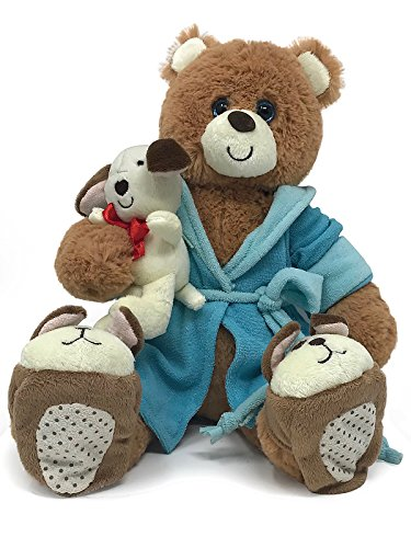 First & Main Bounce Back Jack Get Well Bear with a Small Brown Dog