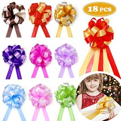 18 Pcs Pull Bows Christmas Gift Wrap Ribbon Present Wrapping Accessories for Boxes Bags Baskets  ...