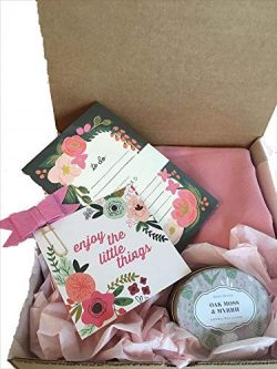 Blush Gift Box Set- Wrap,Scarf, Candle, Floral Notebook, Quote. Mom, Daughter, Aunt, Grandma, Te ...