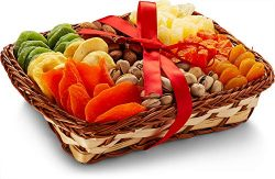 Holiday Nut and Dried Fruit Gift Basket, Healthy Gourmet Snack Christmas Food Box, Great for Bir ...