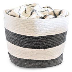 OrganizerLogic Storage Baskets – Large 15″x 15″x 13″ Gray and Beige, Cot ...