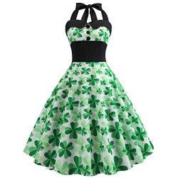 Euone ❀Dress, St. Patrick's Day Women Vintage 1950s Retro Halter Sleeveless Prom Swing Dress