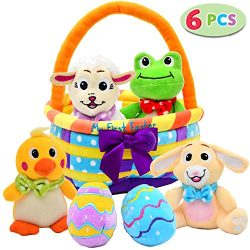 My First Easter Egg Basket Stuffed Plush Playset for Baby Kids Easter Theme Party Favor, Easter  ...