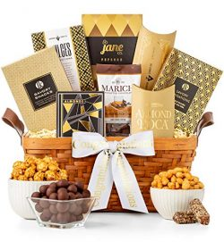 GiftTree Gold Ribbon Congratulations Gift Basket | Assortment of Chocolates, Nuts, Snacks and Ca ...