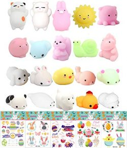 25 Pcs Mochi Squishy Toys Mini Squishy Easter Egg Fillers Party Favors with Easter Stickers for  ...