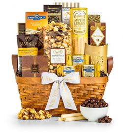 GiftTree As Good As Gold Sympathy Gift Basket | Includes Almond Roca, Sweet Popcorn, Bourbon Cre ...
