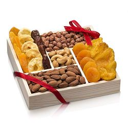 Nut and Dried Fruit Gift Basket, Healthy Gourmet Snack Christmas Food Box, Great for Birthday, S ...
