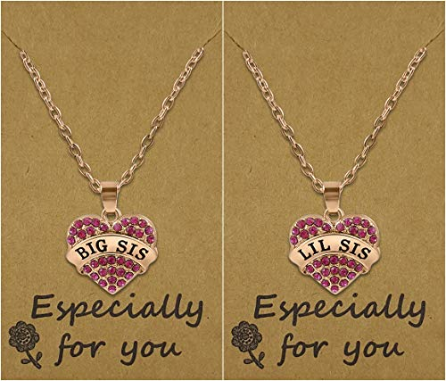 Big Sis & Lil Sis Valentines Day Heart Necklace Set, 2 Sister Necklaces for Teens & Girl ...