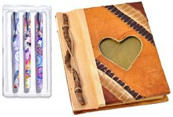 Medium Heart Handmade Art Writing Travel Diary Journal Notebook with Natural Material Heart Desi ...